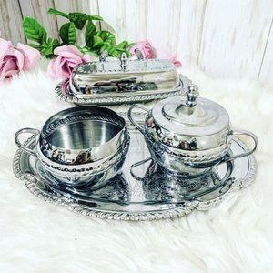 Irvinware Creamer & Sugar Bowl /Tray butter dish.